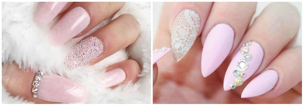 Pink Nails 2019: Nail design with rhinestones and ornaments