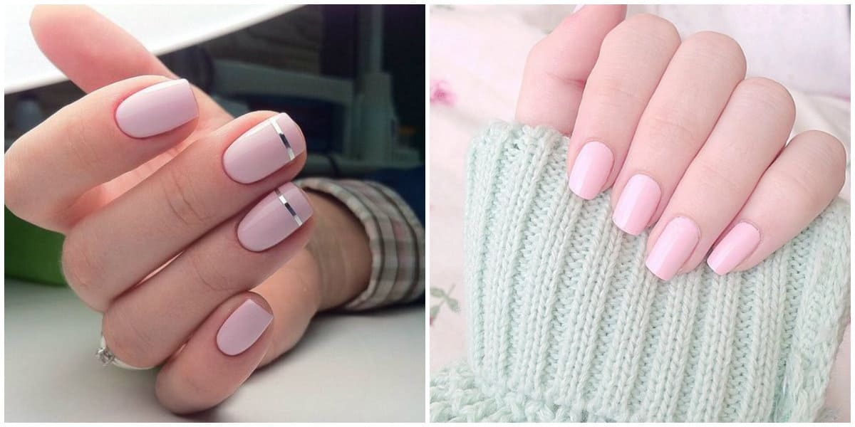 Pink Nails 2021: Nail design on short nails: light pink