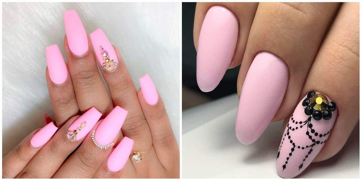 Pink Nails 2019: Pink nail design on long nails with rhinestones