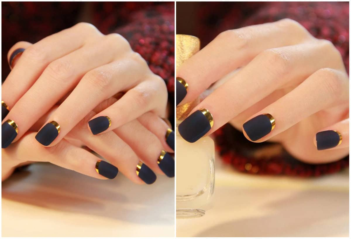 Short nails 2019: Gentle colors on short nails: Short Nails design: Black and gold french style on short nails