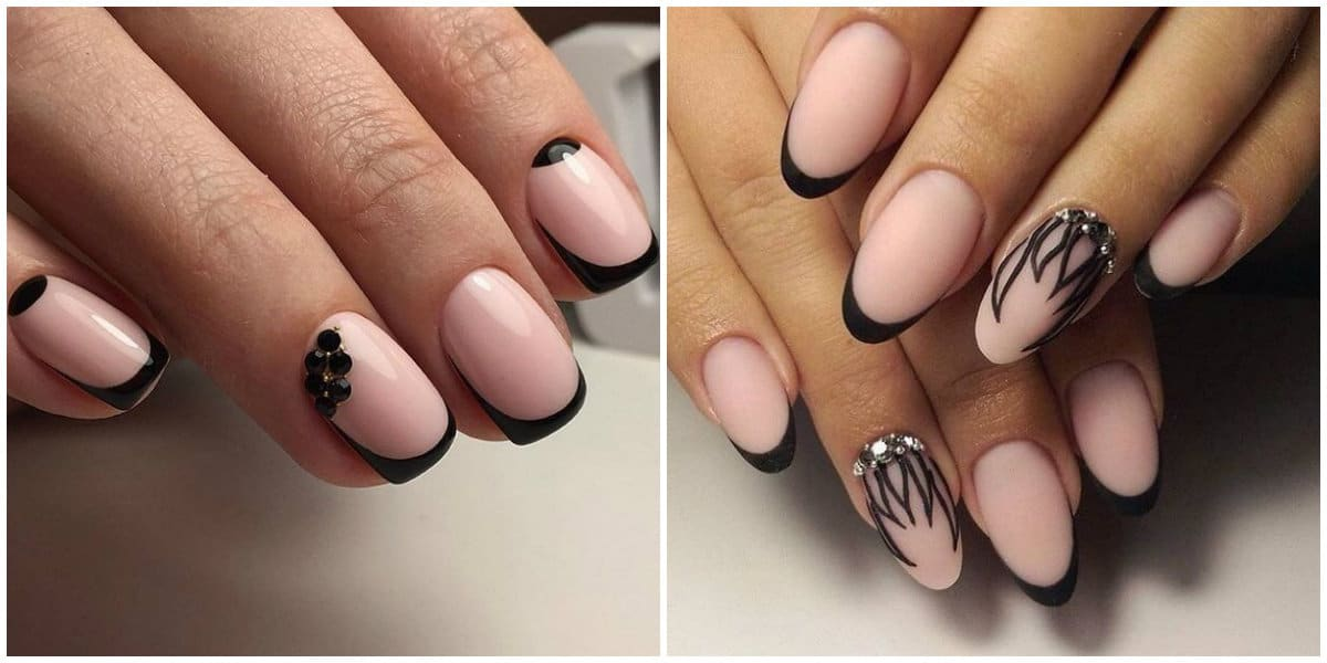 Short nails 2019: Gentle colors on short nails: Short Nails design: Black french nail style on short nails