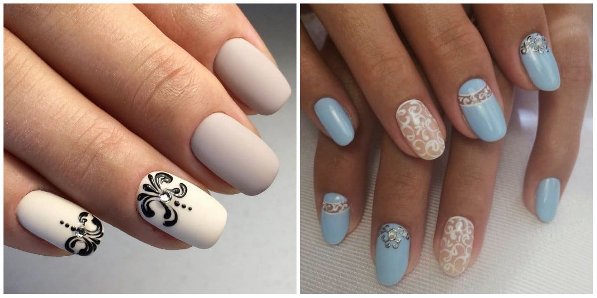 Short nails 2019: Gentle colors on short nails: Short Nails design: Glisters and ornaments on short nails