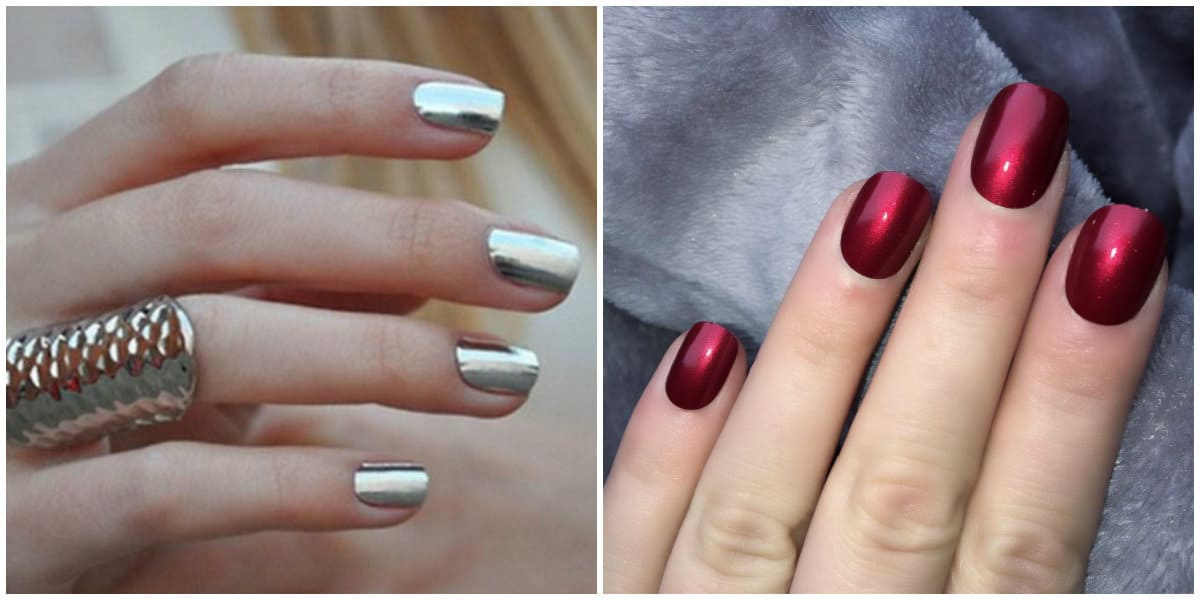 Short nails 2019: Gentle colors on short nails: Short Nails design: Metallic silver and red design on short nails