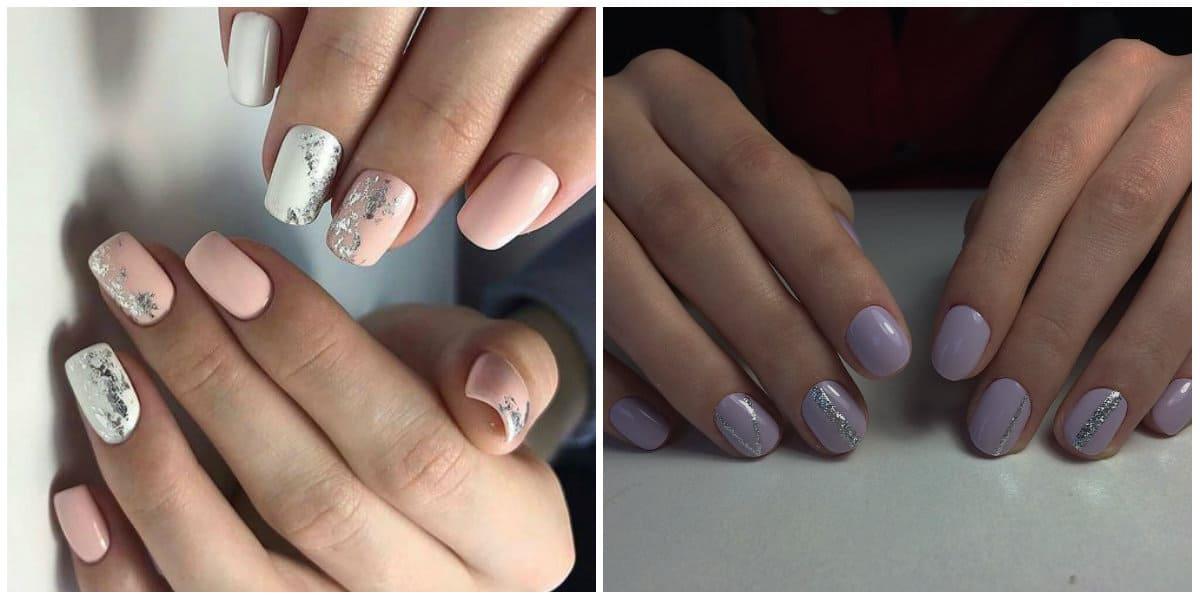 Short nails 2019: Gentle colors on short nails: Short Nails design: Metallic design on short nails
