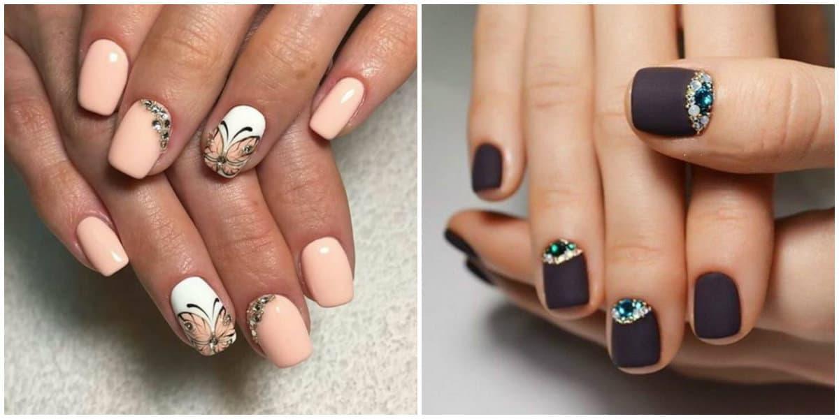 Short nails 2019: Gentle colors on short nails: Short Nails design: Lunar art on short nails