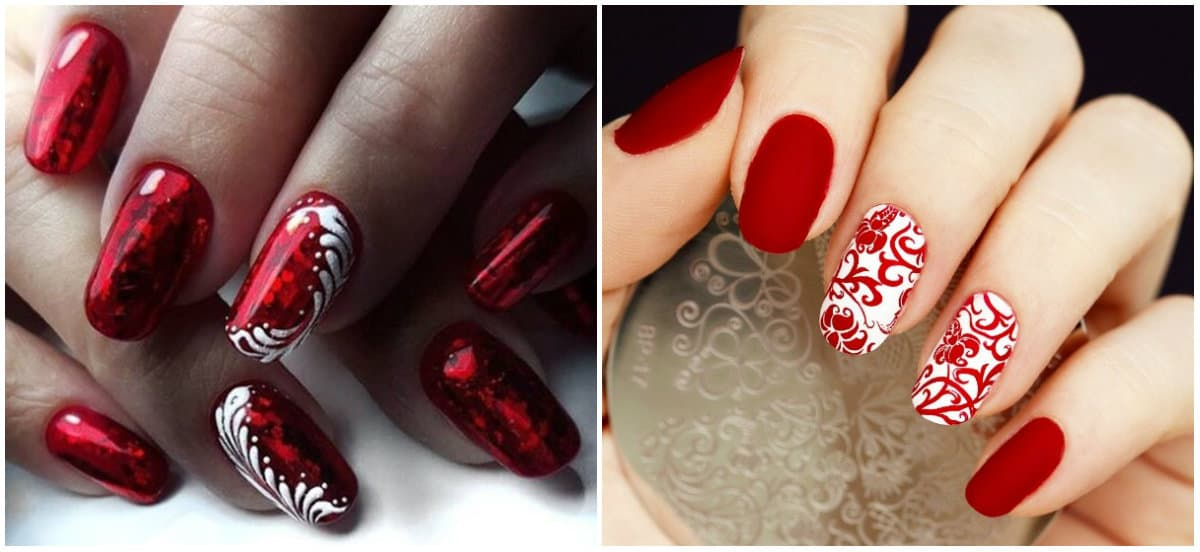 Red Nails 2020: Red Nail design with ornaments