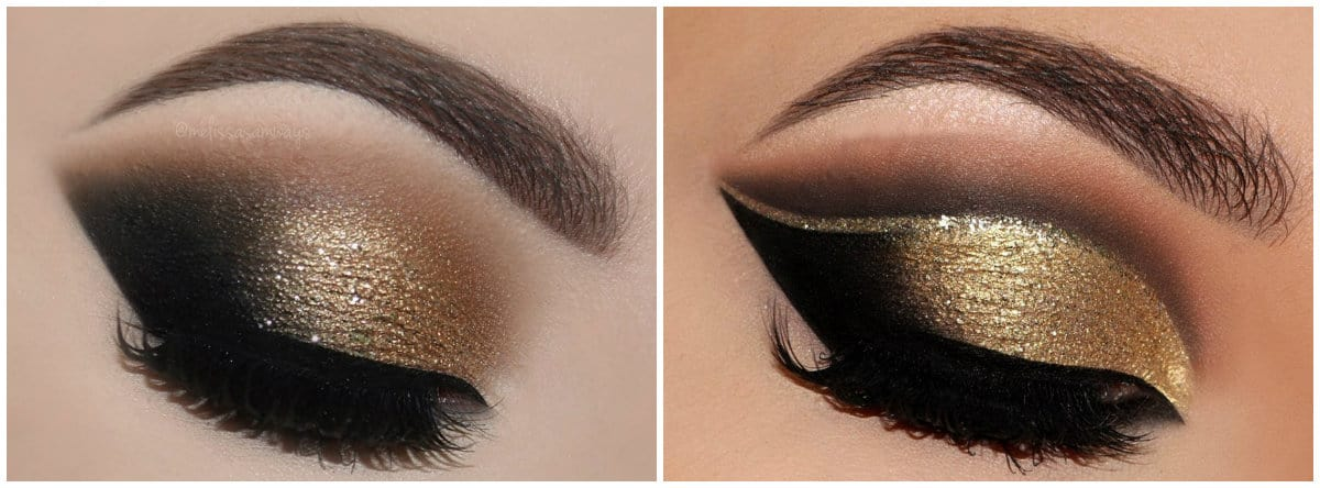 Eye Makeup 2019: Eye makeup with palette of beige and black colors