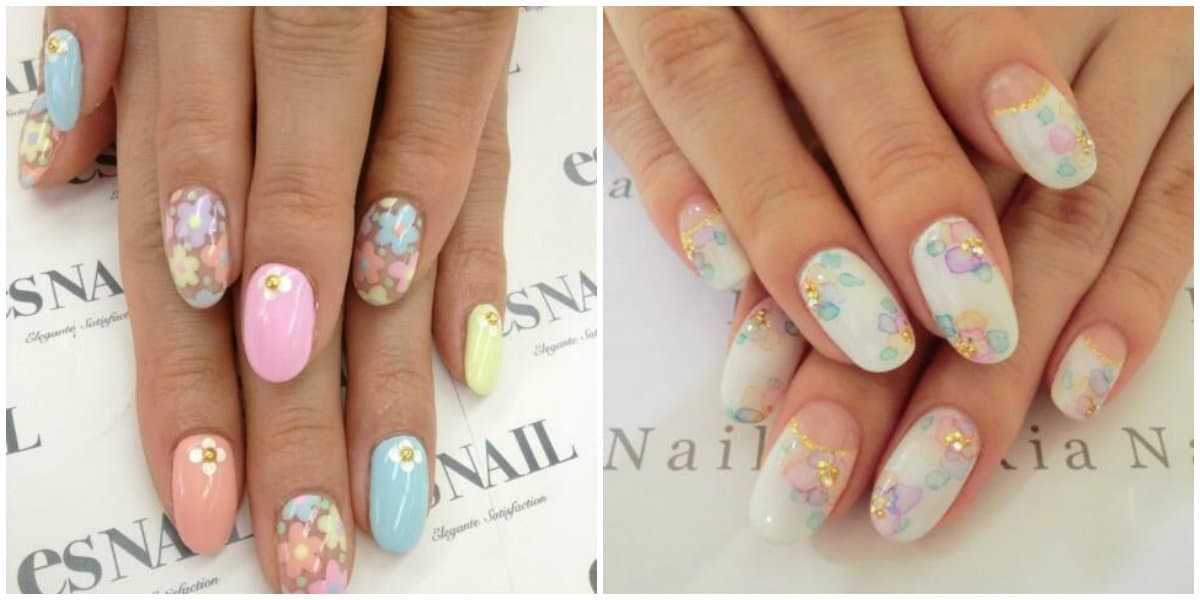 Japanese Nail Art 2019: gentle and pastel nail design with flowers
