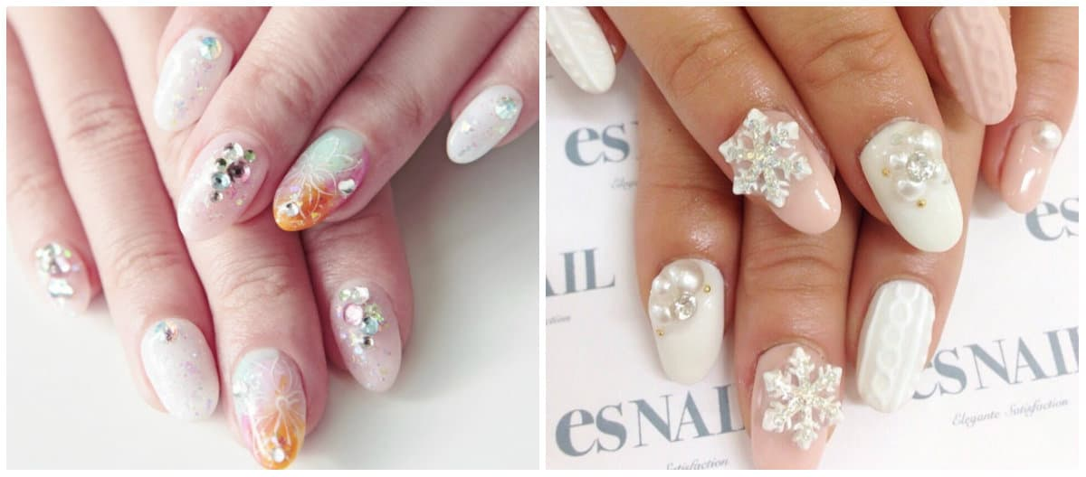 Japanese Nail Art 2019: Rhinestones and 3D nail design effects