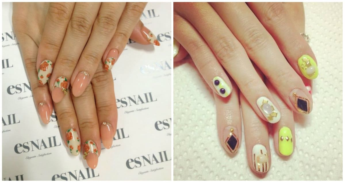 Japanese Nail Art 2019: gentle nail design with flowers and ornaments
