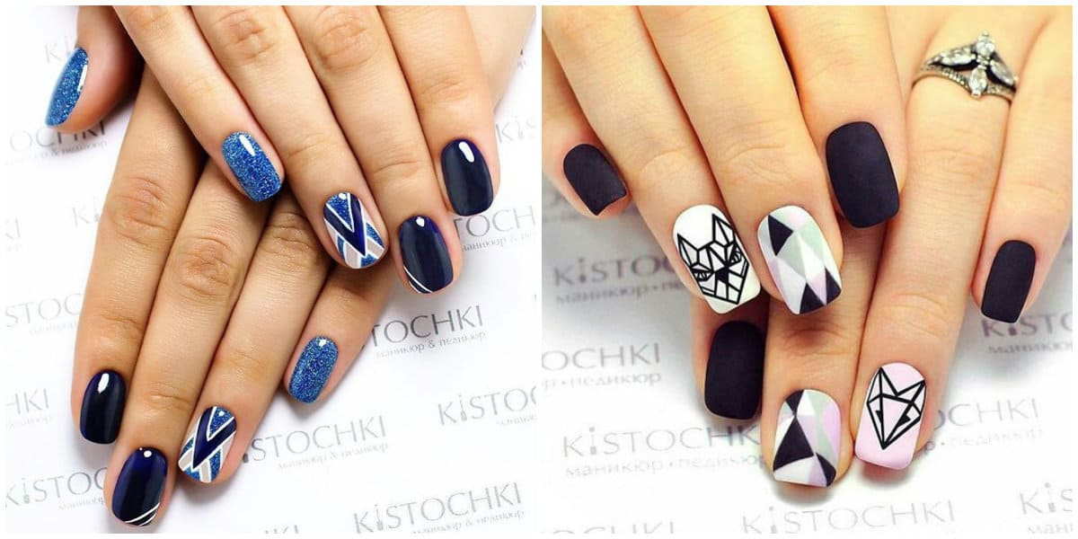 Nail Designs 2019: Nail design in different colors: geometrical objects