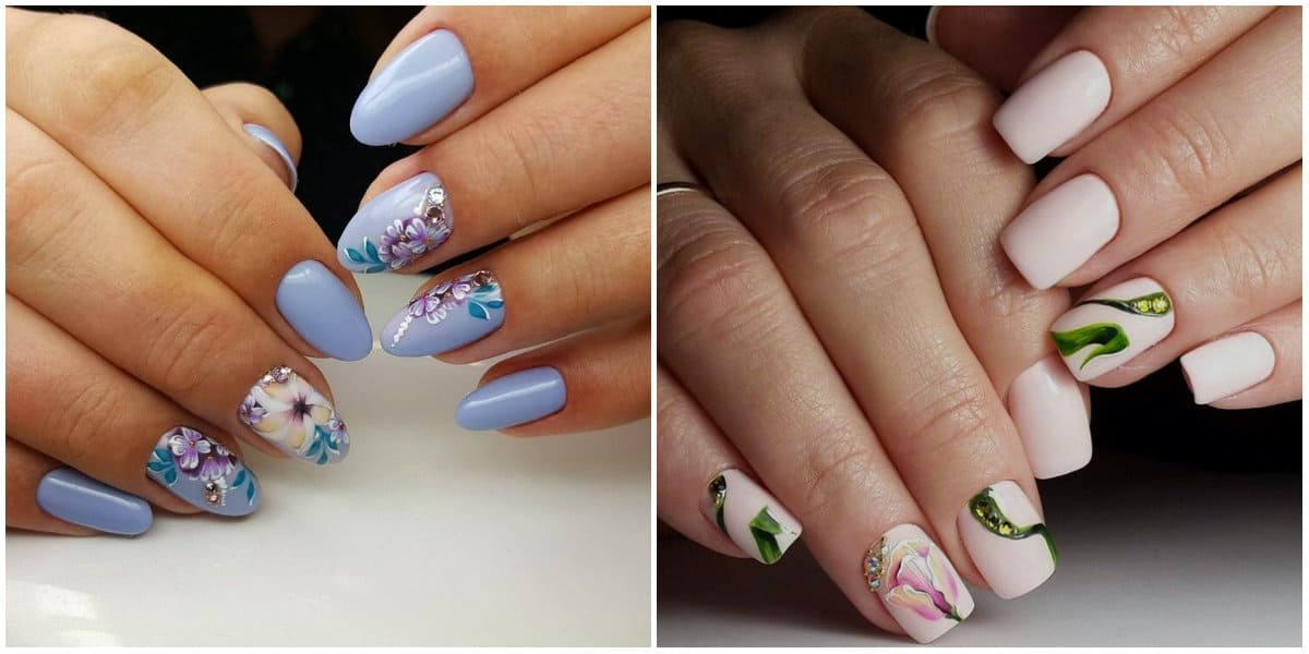 Nail Designs 2019: Flowers on nails: Acrylic nail design