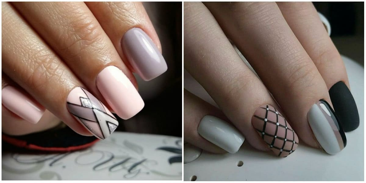 Nail Designs 2019: Nail design with ornaments: Nude Colors