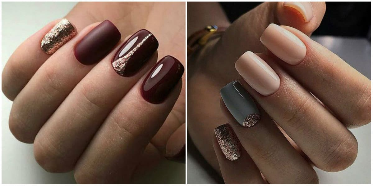 Nail Designs 2019: Nail design in dark colors and glitters