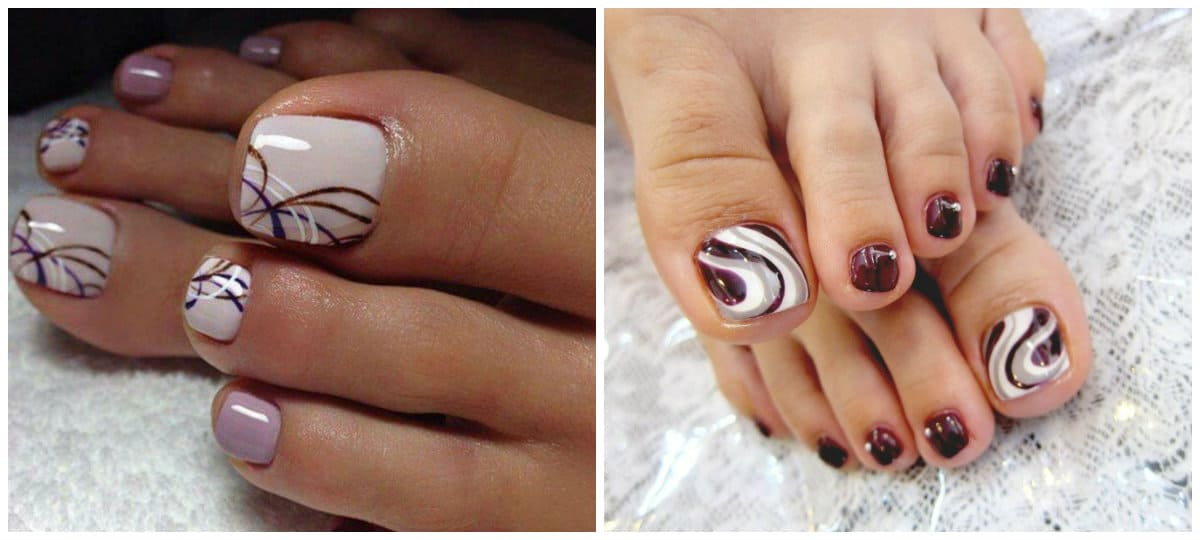 Pedicure 2019: Toenail design with lines and ornaments