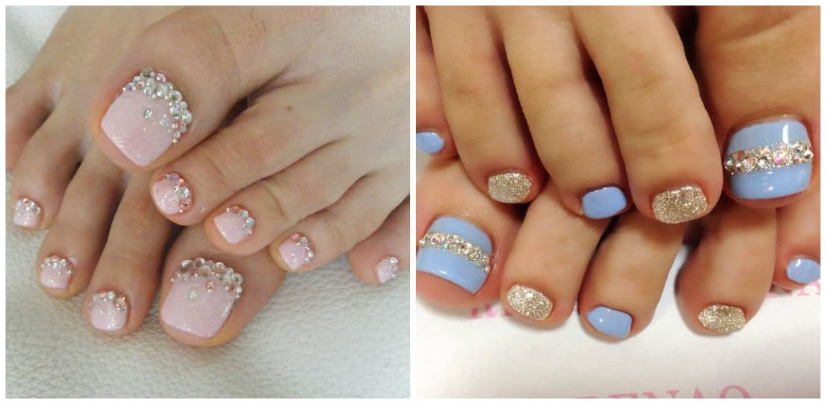 Pedicure 2019: Toenail design with rhinestones and soft colors