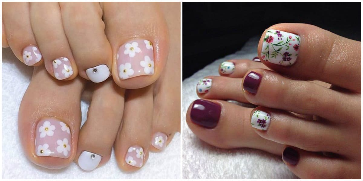 Pedicure 2019: Toenail Design wih flowers