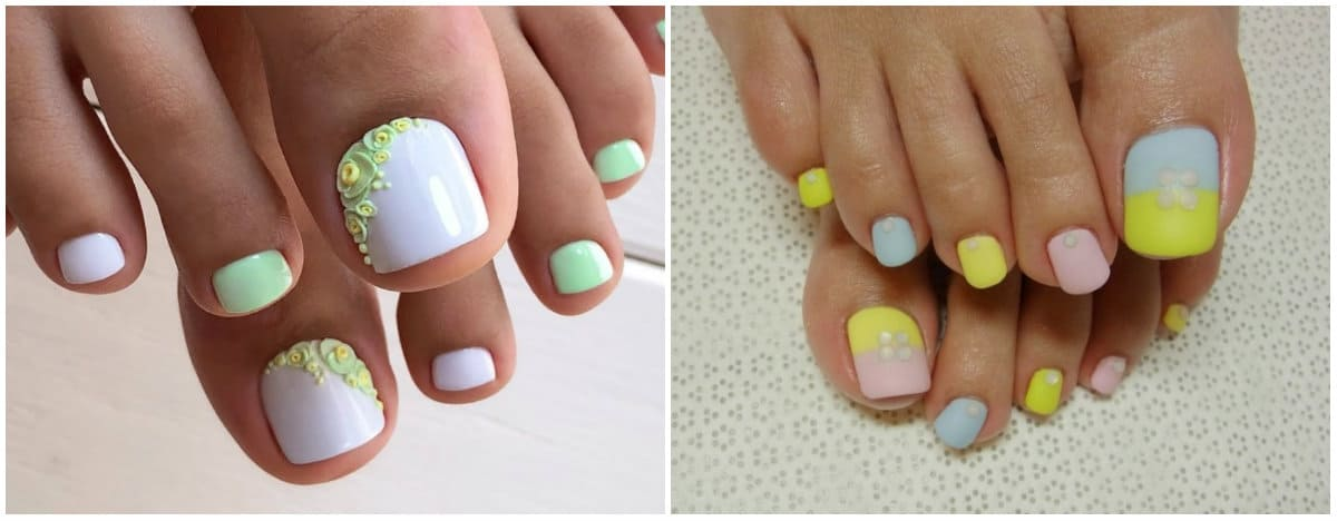 Pedicure 2019: Toenail Design with 3D effect and different colors