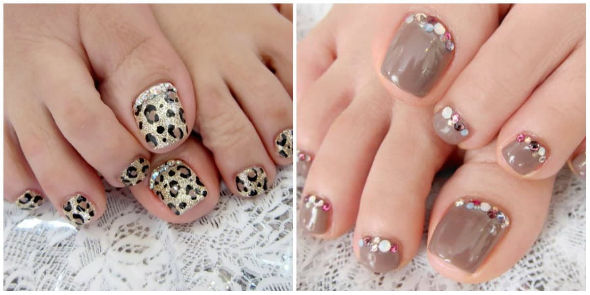 Pedicure 2019: Toenail design with rhinestones