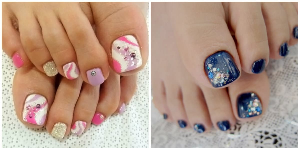Pedicure 2019: Toenail design with rhinestones and glitters