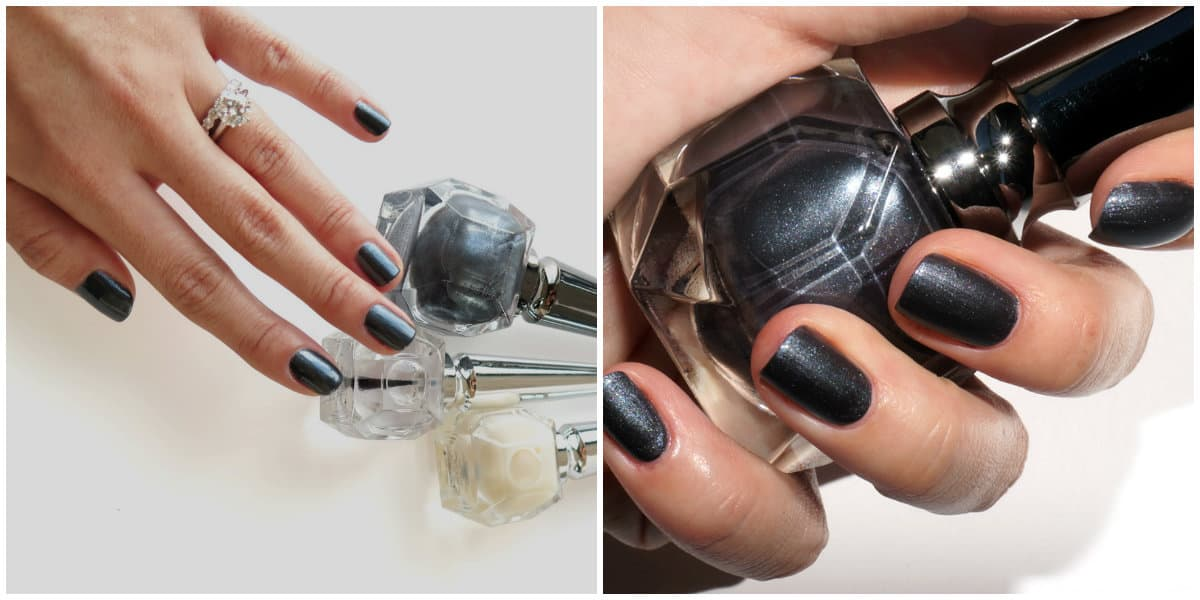Popular Nails 2019: Dark grey Nail Color with glisters