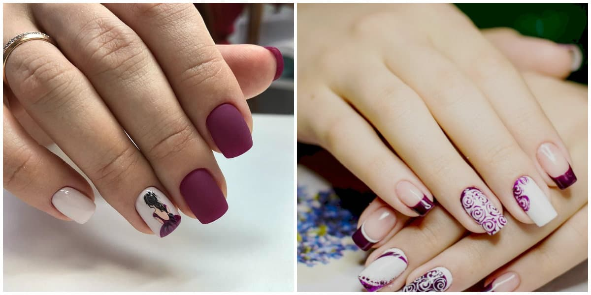 Popular Nails 2019: Matte pink Nail design with drawing and ornaments