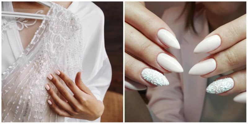 Wedding Nails 2019: Minimalistic nail design and nail design with lace effect