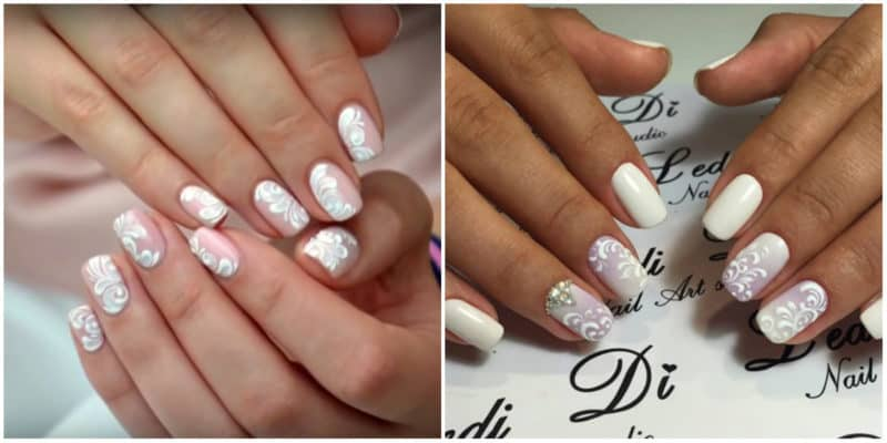 Wedding Nails 2019: Wedding Nail Design with Lace effect