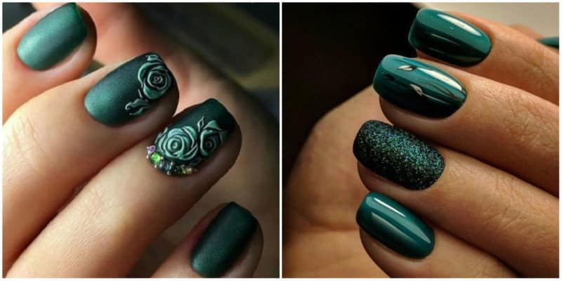 Fall nails 2020: Green nail design with ornaments, acrylic nail polishes and rhinestones