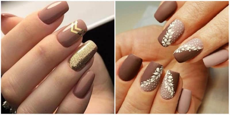 Fall nails 2020: Nail design with metalolic jewel shade and ornaments: Beige nail color