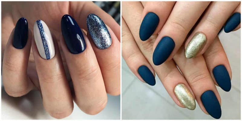 Fall nails 2020: Nail design with glitters and different nail design: Matte nail polish