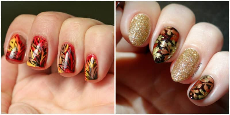 Fall nails 2020: Nail design with leaves: Bright-colored fall nail design