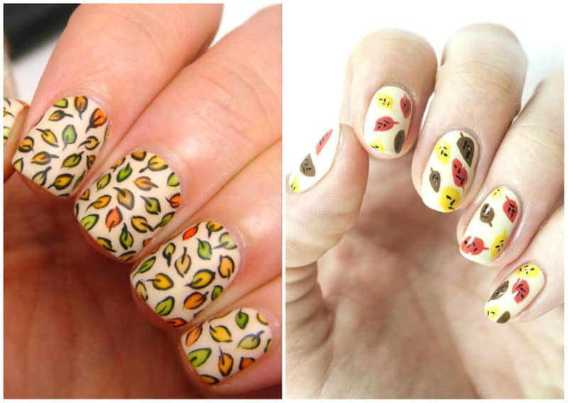 Fall nails 2020: Nail design with leaves