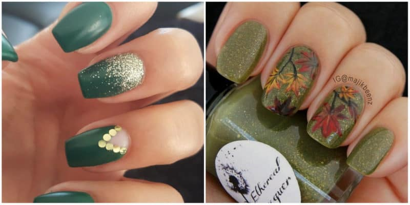 Fall nails 2020: Different shades of green nail polish
