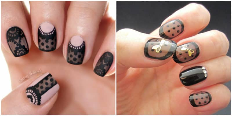 Latest nail trends 2020: Sheer nail design with black lace effect