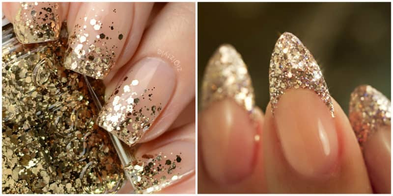 Latest nail trends 2020: Glitter french nail design