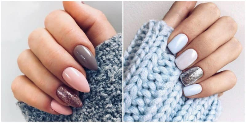 Nail art ideas 2020: Nail design with nude colors and glitters