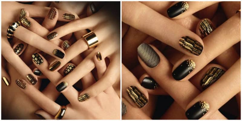 Nail art ideas 2020: Nail design with gold nail polish: Dotted nails