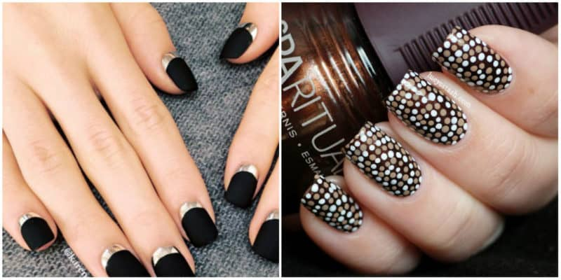 Nail art ideas 2020: Nail design with black nail polish: French and dotted nail design
