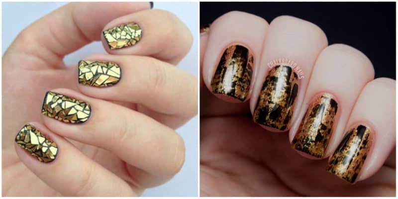 Nail art ideas 2020: Gold nail design