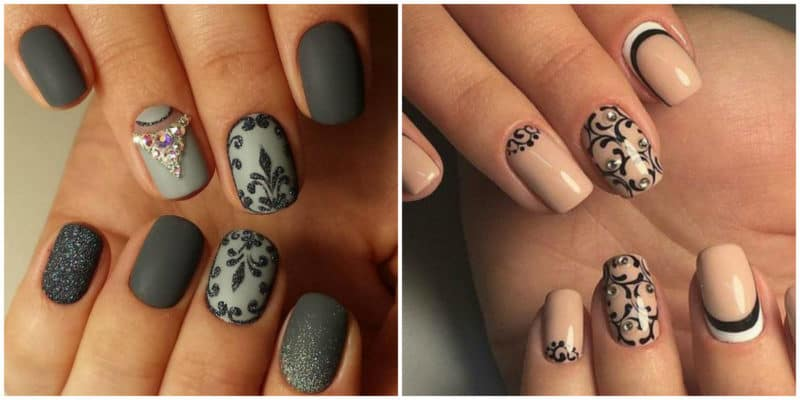 Nail designs for short nails 2019: Nail design with ornaments