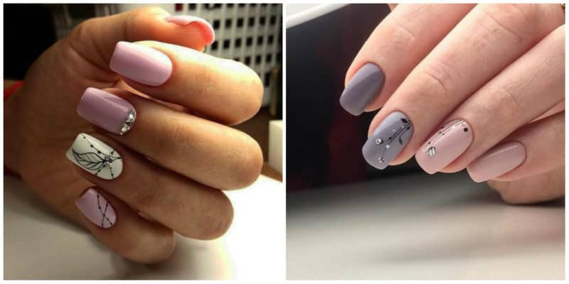 Nail designs for short nails 2019: Short nails with rhinestones