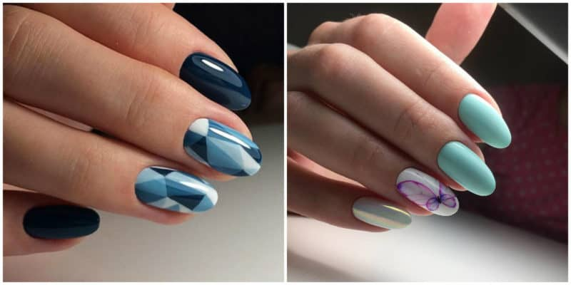 New nail trends 2019: Glass nail design: Blue nail design with butterfly