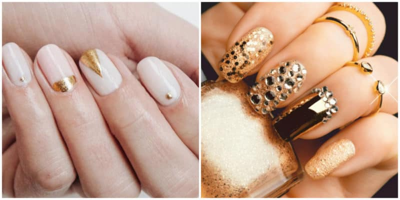New nail trends 2019: Gold nail design