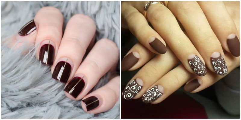 New nail trends 2019: Nail design with dark and nude shades