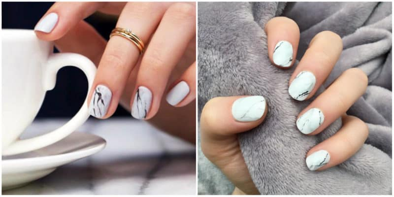 Short nail designs 2018: Marble nails