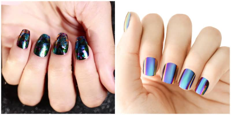 Short nail designs 2018: Holographic nails