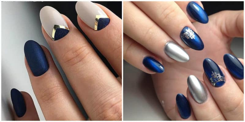 Short nail designs 2018: Dark blue nail design with ornaments