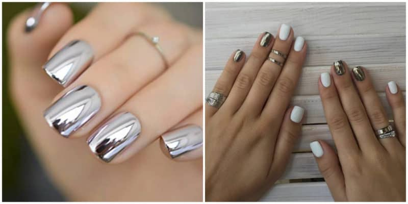 Short nail designs 2018: Metallic nail design