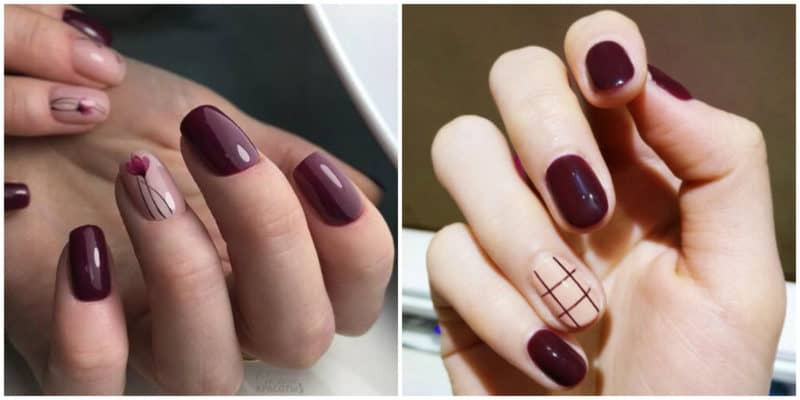 Short nail designs 2018: Wine red nail design